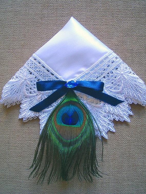 Royal Blue Peacock Wedding Hanky, Mother of the Bride Handkerchief, Mom Handkerchief, White Lace Hanky, Satin Handkerchief, Mother of Groom