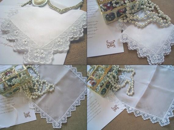 Matching Mother of the Bride Handkerchief Wedding hanky Gift set Silk Handkerchief Mother and daughter Gift Swarovski wedding Bridal Hankie