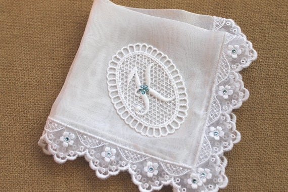 Wedding Gifts For Bride Something Blue : Something Blue bride handkerchief Monogrammed handkerchief Silk bridal ...