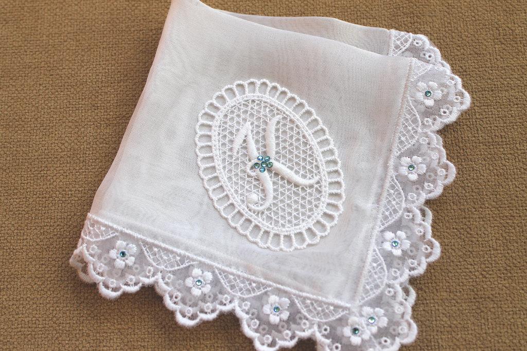 Something Blue Bride Handkerchief Monogrammed Handkerchief