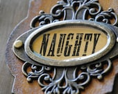 Naughty Book Mark Tag Distressed Faux Leather Metal
