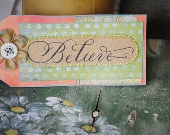 Believe Bookmark Coral, Green, Cute Flower accent. Great gift.