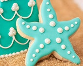 Starfish Beach Wedding Cookie Favors - 1 doz. - Star Fish Birthday Party Favors