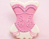Bachelorette Cookie Favors - 1 doz - Corset Wedding Party Favors - Pink Glitter Burlesque Lingerie - Cabaret