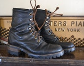 Vintage Black Leathr Lace Up Combat Boots Work Boots by Code West Mens 7 1/2, Womens 9