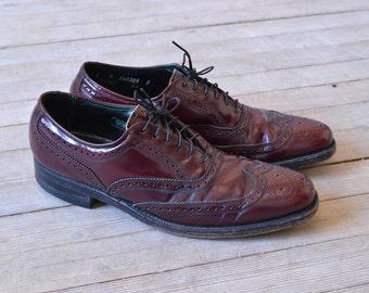 Vintage Florsheim Imperial Wingtip Shoes, Mens 8 B / ITEM035