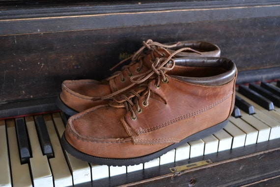 Vintage Brown Leather Moccasin AnklePreppy Hiker Boots by Minnetonka womens 7 1/2 - 8