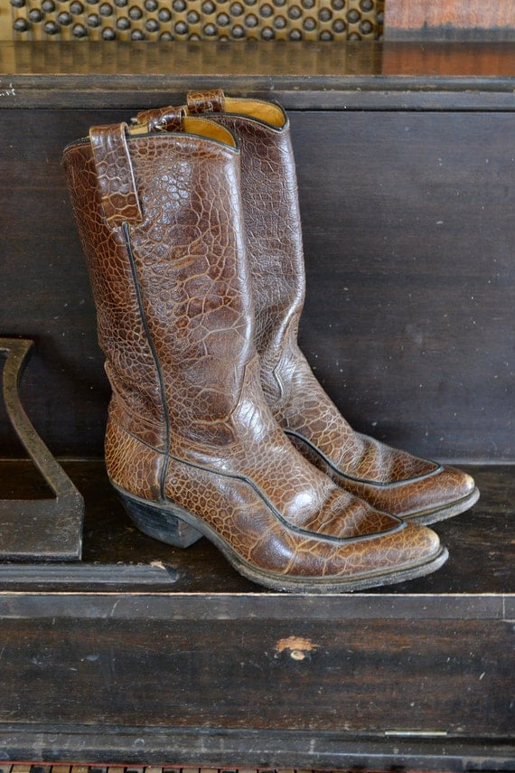 Vintage Wrangler Brown Leather Pointy Toe Cowboy Boots Womens 6