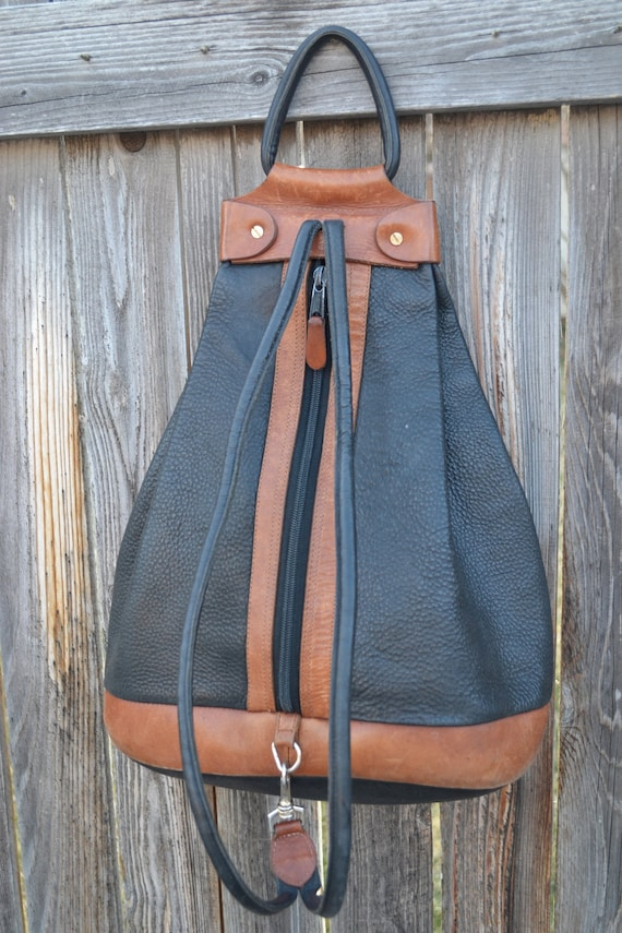 Vintage Two Tone Black and Brown Pebbled Leather Bag