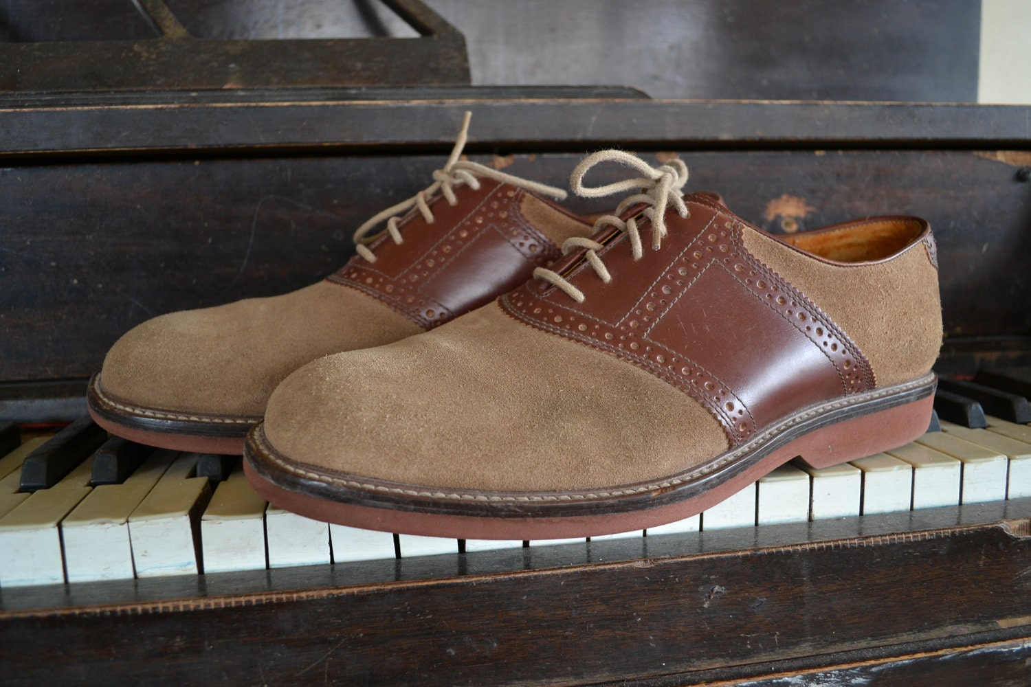 Vintage Two Tone Brown Suede Nordstrom Saddle Shoes Mens 11