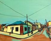 "New Orleans Urban Landscape, ""Streetview"" Touro & Royal Street, 8""x10"" Print of Original Oil on Wood"