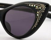 Womens Black Cateye Vintage Eyeglasses Rhinestones NOS Sunglasses - Free Shipping in USA