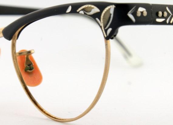 Womens Brown Artcraft Etched Aluminum Vintage Cateye Eyeglass Frames NOS Eyewear - Free Shipping in USA