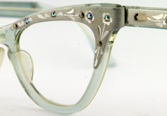 Womens Etched Aluminum  With Jewels Vintage Cateye Eyeglass Frames NOS Eyewear - Free Shipping in USA