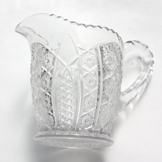 Early American Pressed Glass Creamer Cream Pitcher