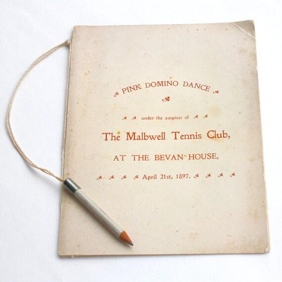 1897 Antique  Dance Card  Malbwell Tennis Club Pink Domino Dance