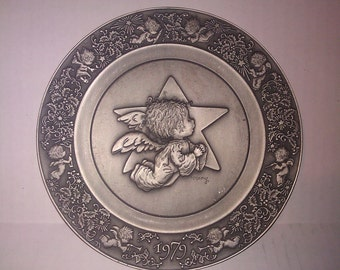 Angel Plate Collectible Pewter Ornament- Christmas 1979