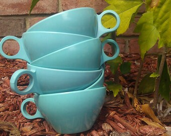Six 1960s Powder Blue Tea Cups