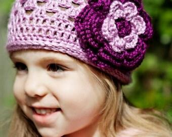 Toddler Lavender Crochet Spring Beanie With Detachable Flower