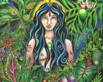 The Goddess returns to the Garden, 2011, Prismacolor Giclee print