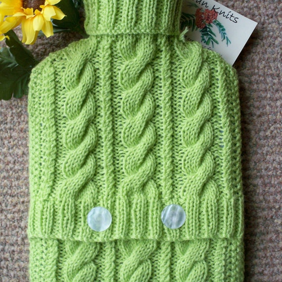 Hand knitted  Lime green hot water bottle cover