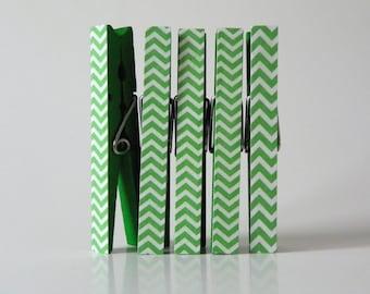 Green Chevron Clothespin Magnet Set