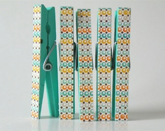 Aqua Retro Clothespin Magnets. Kitchen Magnets. Classroom Decor. Office Decor. Stocking Stuffers. Teacher Gift. Gifts under 10.