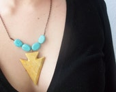 Onyx Arrowhead Necklace: mustard yellow and turquoise blue