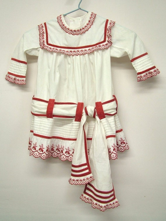 Antique Little Girl's Dress Victorian Rare Red and White