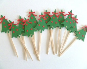 Christmas Tree Cupcake Toppers or Picks