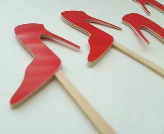 shiny high heels cupcake toppers by jchands on etsy