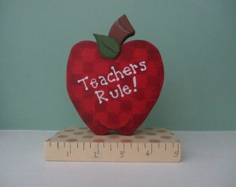 Teacher Gift  Wood Hand Painted Apple Decoration