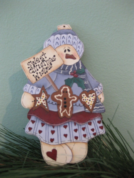 Wood Hand Painted Snow Woman Snowlady Holiday Christmas Decoration Ornament Snowman