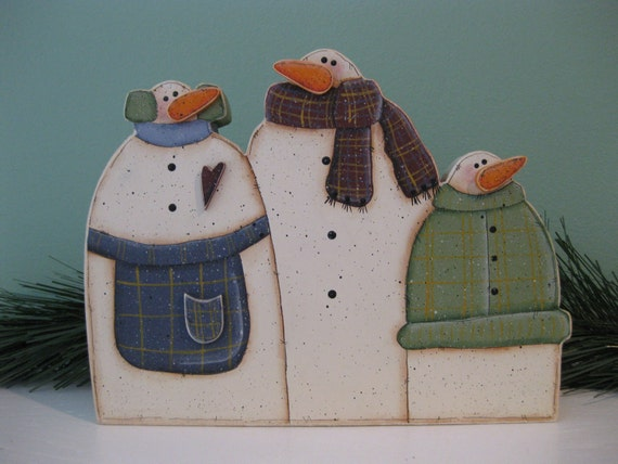 Sold wood hand primitive painted snowman snowmen christmas holiday