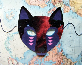 Galactic Wolf Mask, Paper Animal Mask, Woodland Forest Party or Wedding Favor