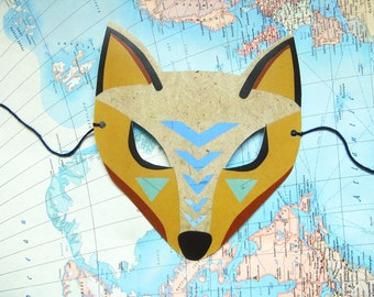 Coyote Mask, Paper Animal Mask, Woodland Forest Party or Wedding Favor