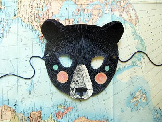 Black Bear Paper Mask, Woodland Forest Party or Wedding Favor