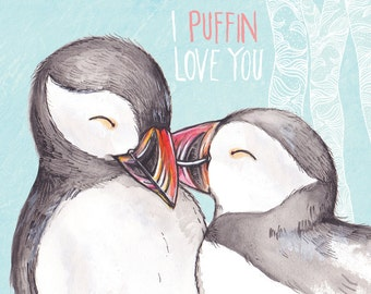 I PUFFIN love you Illustration (A4 print)