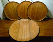 4 Vintage Mid Centruy Modern Wood Plates/Dishes and Serving Plate Japan 1950's So Cool