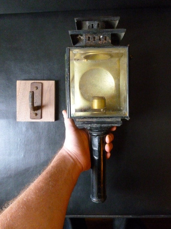 Antique Carriage Buggy Lamp Lantern with bracket 1880's to 1890's Great potential Totally Vincent Price