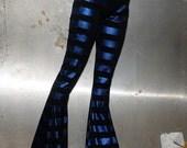 Electric Blue Striped Leggings Cotton/Lycra Stretchy Goth Trash Super Bellz