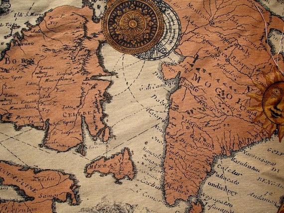 Vintage Style Map Print Fabric Steampunk World by ZaylaMoon – World Traveler Map Set