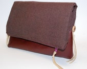 Fold Over Clutch - Burgundy - Vegan Leather with Button Detail
