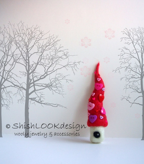 Adorable fairy house with red roof ,Wool Brooch, Felt Jewelry