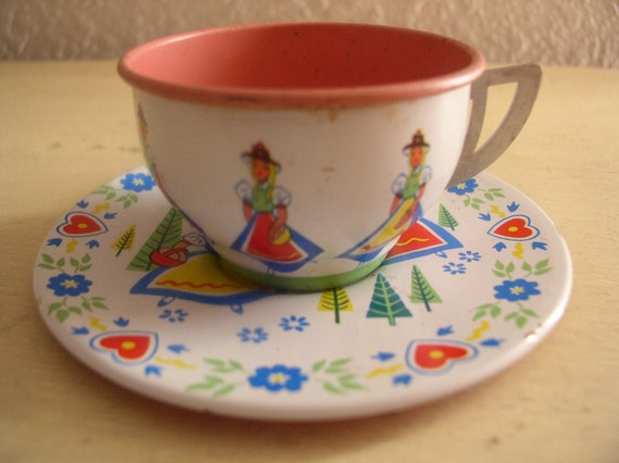 Tin Litho Toy Teacup and Saucer Ohio Art Swiss Miss 1960's