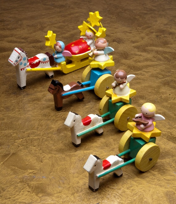 Sevi Vintage 1960's , 3  little hand painted wooden angels, in horse drawn carts, Made in Italy,