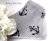 Dribble baby bib - blue and white anchor, boy sailor