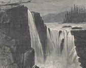 Antique Print Willamette Falls Picturesque America 1895 Wood Engraving