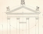 Tuscan Order Portic and Pediment, Vignola Architectural Drawing