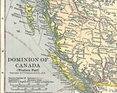 Large Map of Western Canada 1930s British Columbia, Alberta, Saskatchewan and Manitoba